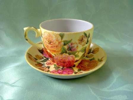 Чашка и блюдце – декупаж <strong>декупаж для блюдцев</strong> чайной пары, мастер класс с фото